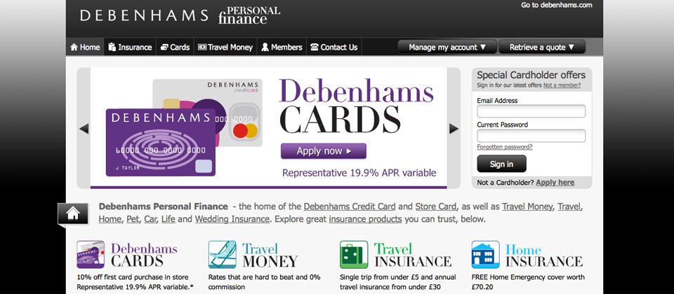Debenhams Personal Finance